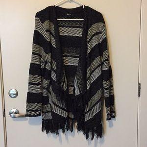 Style & Co Fashionable Fringe Tassle Open Cardigan